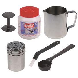Puly Caff Barista Kid aus Puly Caff Reiniger, Tamper, Milchkännchen, Kakaostreuer, Motta Bürste, Messlöffel
