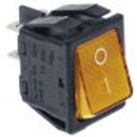 Wippenschalter Einbaumaß 30 x22 mm orange 2NO 250V 16A beleuchtet 0-I Anschluss Flachstecker 6,3 mm