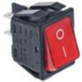Wippenschalter Einbaumaß 30 x22 mm rot 2NO 250V 16A beleuchtet 0-I Anschluss Flachstecker 6,3 mm