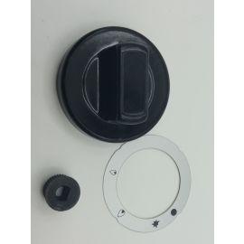 Knebel Gashahn mit Zündflamme PEL21 ø 70mm Achse ø 8x6,5mm Abflachung universal schwarz