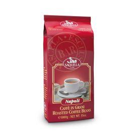 Saquella Espresso Napoli BAR aromatisch, stark, leichte Schokoladennote 1 Kg ganze Bohne